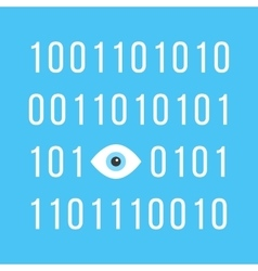 Concept of big brother is watching you with binary vector