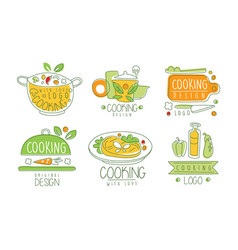 Cooking with love logo design collection cooking vector