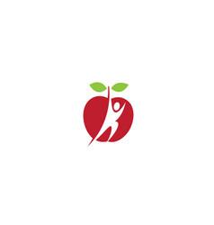 Creative red apple fruit human body logo design vector