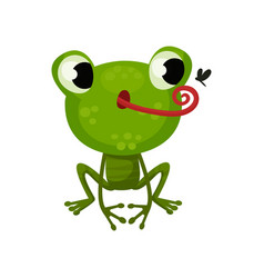 cute frog hunting on mosquito flat icon of vector image