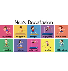 Different types of mens decathalon vector