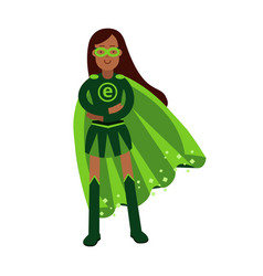 Ecological superhero woman standing with folded vector