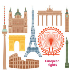 european most famous sights flat set vector image