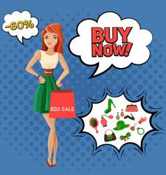 female accessories sale comic bubbles vector image