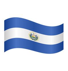 flag of el salvador waving on white background vector image