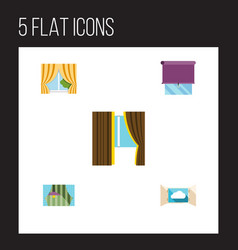 Flat icon window set of curtain glass frame vector