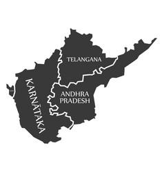 Goa - karnataka - telangana - andhra pradesh map vector