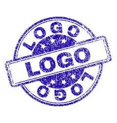Grunge textured logo stamp seal vector