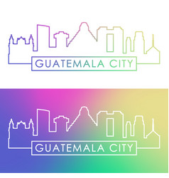 guatemala city skyline colorful linear style vector image