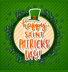 hand drawn calligraphy happy st patrick s day vector image