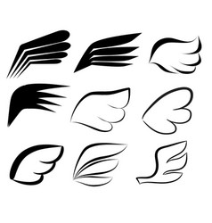 hand drawn wings logo set doodle winged icons vector image