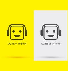 Headphone face smile vector