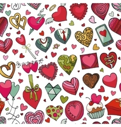 Hearts hand drawing doodleseamless patternColored vector