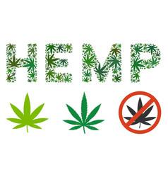 Hemp text mosaic hemp leaves vector