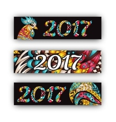 Horizontal Banners Set with 2017 Chinese New Year vector