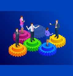 Isometric business people on gears collaboration vector