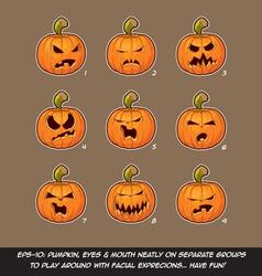 Jack o lantern cartoon 9 angry expressions set vector