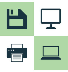 Laptop icons set collection of laptop desktop vector