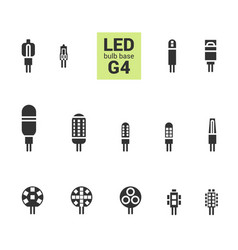 led light g4 bulbs silhouette icon set vector image
