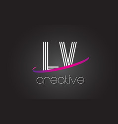 lv l v letter logo with lines design and purple vector image