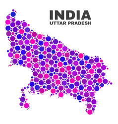 Mosaic uttar pradesh state map of round dots vector