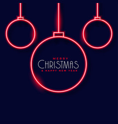 neon christmas balls decoration background vector image