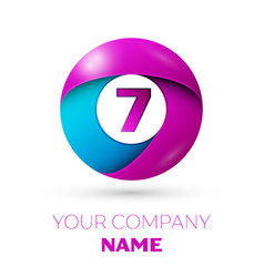 Number seven symbol in the colorful circle vector