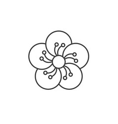 oriental blossom outline icon vector image