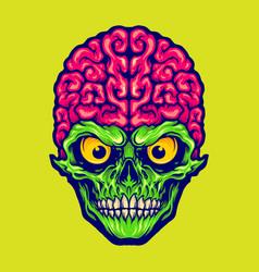 Our brains skull mascot logo vector