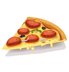 Pepperoni cheesy pizza part vector