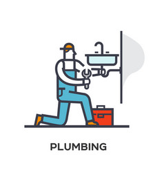 plumber repairs and installs the sink vector image