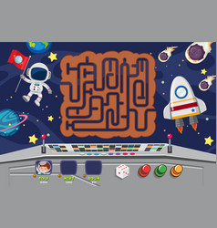 puzzle game template with spaceman at night vector image