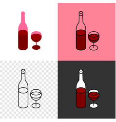 red wine bottle with glass icon thin line style vector image