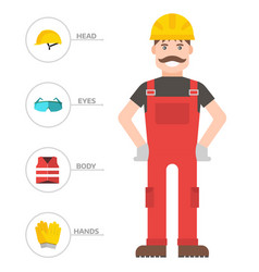safety industrial man gear tools flat vector image