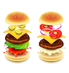 sandwich burger layers isolated on white vector image