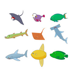 sea fish icon set cartoon style vector image