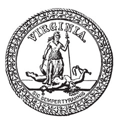 Seal of the commonwealth of virginia 1875 vintage vector