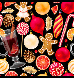 seamless mulled wine vector image