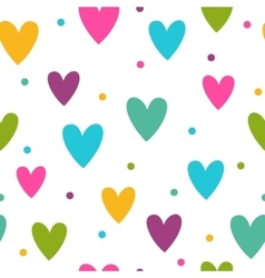 Seamless pattern with funny colorful hearts vector image