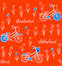 Seamless pattern with tulips and bicycles vector