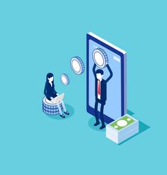Sending and receiving money smartphone money vector