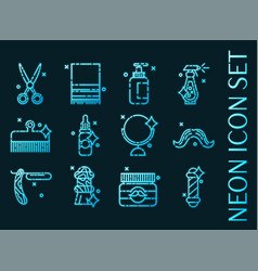 set barber shop blue glowing neon icons vector image