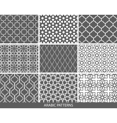 set nine monochrome arabic patterns vector image