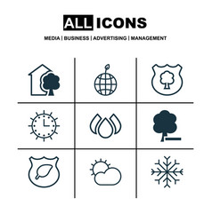 set of 9 eco-friendly icons includes house snow vector image