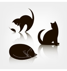 set of black silhouette cat icons logo vector image