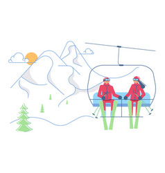 skiers man and woman in mountain lift vector image
