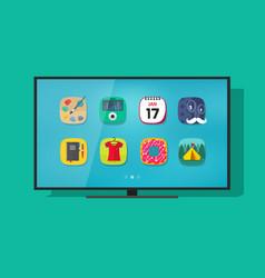 Smart television flat screen tv vector