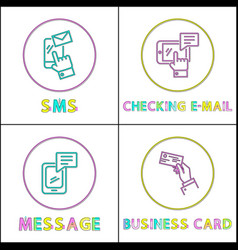 sms and checking mail set vector image