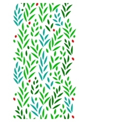 Subtle green leaves floral vertical seamless vector image