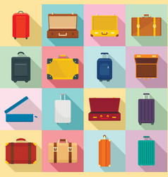 suitcase travel luggage bag icons set flat style vector image